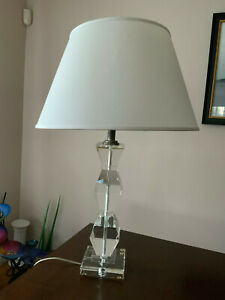 """Large Heavy clear Crystal Cut Glass table Lamp 31"""" tall very heavy rare"""