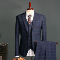 3 Piece Navy Men Suits Plaid Single-Breasted Tuxedos Blazer Check Blazer Jackets