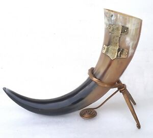 Viking drinking horn with thor hammer brass logo for beer wine ale free shipping