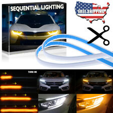 2Pc Flexible 30cm LED Headlight Slim Strip Light DRL Sequential Turn Signal Lamp