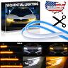 2Pc Flexible 30cm LED Headlight Slim Strip Light DRL Sequential Turn Signal Lamp