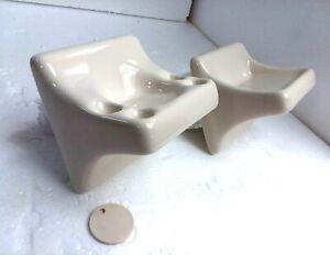 Beige Bone Almond Ceramic Soap Dish Tray Toothbrush Tumbler Cup Holder 0135