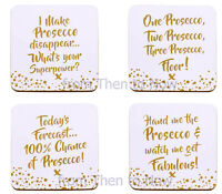 Set of 4 Prosecco Coasters Drinks Mat Present Gift Funny Quote Slogan Gold White