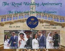 More details for grenada 2021 mnh royalty stamps prince harry & meghan royal wedding anniv 4v m/s