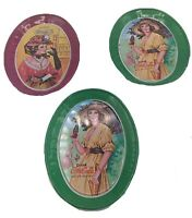 Coca Cola Small Oval Tin Trays Coke Victorian Lady Green Collectible Lot Of 3
