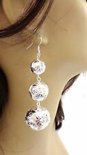 SILVER BALL EARRINGS SILVER TONE DANGLE EARRINGS TIER EARRINGS 4 INCH LONG