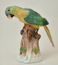 DRESDEN PORCELAIN PARROT - HAND PAINTED VINTAGE BIRD FIGURINE - SP DRESDEN MARK
