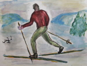 Vintage Watercolor Painting Skier Signed