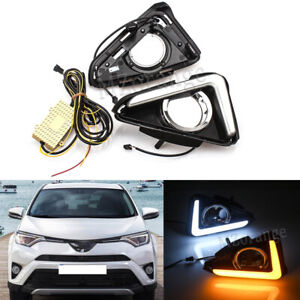 Pair LED Daytime Running Light DRL Fog Lamp Signal For Toyota RAV4 2016 17 2018