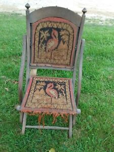 Civil War Campaign Era Carpet Folding Chairs by E. W. Vaill