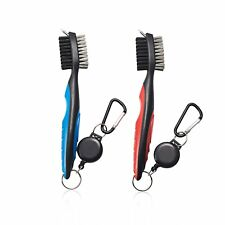 2 Pack Golf Club Cleaning Brush & Groove Cleaner-2 ft Retractable Line Red& Blue