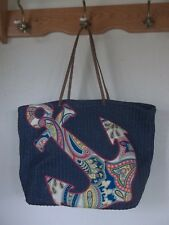 79340ca848 Vera Bradley Blue Straw with Anchor Pattern Extra Large Beach Tote Bag