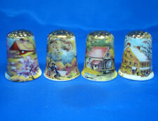 Birchcroft Thimbles -- Set of Four  -- Gold Top Four Seasons of the Year