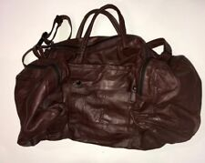 Vintage Red Burgundy  Genuine Leather Overnight Duffle Gym Bag Made In Mexico