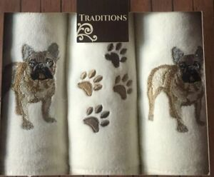 Pug Towels Set Of 3 Embroidered Finger Towels Boxed New White Brown