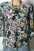 H&M Bluse Gr. 36 kurz schwarz-bunt 3/4-Arm A-Linie Blumen Bluse