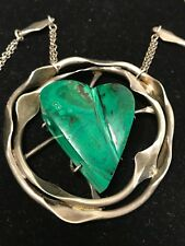 Mid Century Modern sterling silver and malachite Pendant Necklace