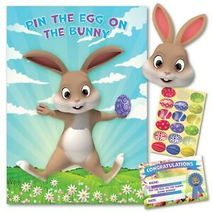 PIN THE EGG ON THE BUNNY – Easter Party Game family, friends kids, school child
