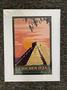 "Vintage Retro Travel Poster Print Chichen Itza Mexico 14""x11"""