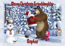Personalised christmas card Masha and the bear Daughter grandson granddaughter