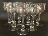 (7) Vtg Will Carlton 1980's Hand Blown Glass Tear Drop Wine Glasses Set Signed