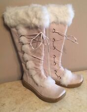 Pierre Dumas womens Beige knee High boots Size 6 Fur Trim Zip Up Great Condition