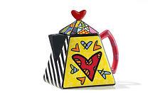ROMERO BRITTO LARGE  TEAPOT - 2  HEARTS 48 oz  ** NEW **  GIFT BOX