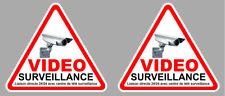 SET DE 2 VIDEO SURVEILLANCE PROPRIETE ALARME CAMERA SECURITE 9cm STICKER VA048