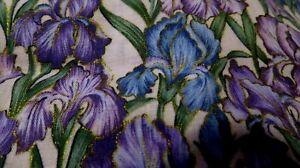 Vintage Hoffman Floral Fabric Fat Quarter Cotton Craft Quilting Iris Flowers
