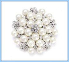 Large Faux Pearl and Rhinestone Crystal Brooch Flower Wedding Bridal Pin
