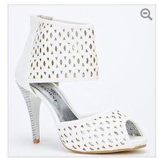 Da Donna Tagliati Tacco e Cinturino Bracciale Festa Tacchi Alti Peep Toe Calzature Stivaletti Scarpe UK 5 Bianco