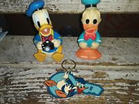 VINTAGE 80's DISNEY RUBBER DONALD DUCK SQUEAKER toy/ keychain lot