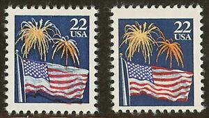 """2276 Multiple Color Shift Error / EFO """"Firework Over Flag"""" Mint NH"""