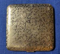 Vintage 1950s Powder Compact Dorset Fifth Ave Birds Makeup Vanity Mirror Brass