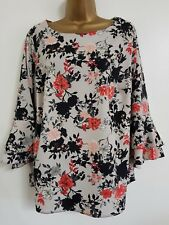NEW Plus Size 16-28 Floral Print Layered Flute Sleeve Gold Red Tunic Top Blouse