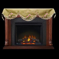 """Pink Rose on Green/Gray 19"""" X 90"""" Fireplace Mantle Scarf"""