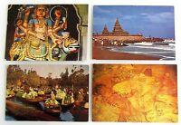 4x INDIEN Postkarte ua. Madras, Buddha, Jodhpur mit diversen India Briefmarken