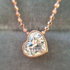 0.47 CARAT F SI1 NATURAL HEART SHAPE DIAMOND BEZEL SET PENDANT 18K ROSE GOLD