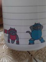 VTG Work Out Cats Mug Small World Greetings Los Angeles Ceramic Korea 12 oz.