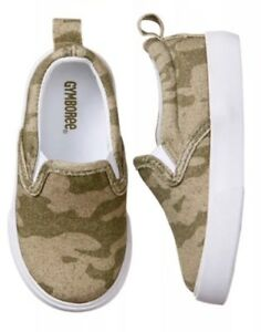 Gymboree Boys Nwt Green Camouflage Canvas Slip-On Shoes Size 4