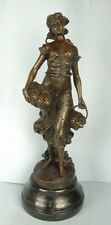 "Signed: H.F.Moreau, Bronze statue girl holding baskets of grapes ""Automne"""