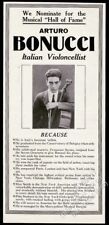 1922 Arturo Bonucci photo cello recital tour booking vintage trade print ad