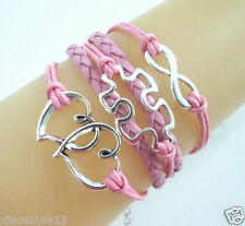 New Infinity/Double Hearts/Autism Puzzle Charms Leather Braided Bracelet - Pink