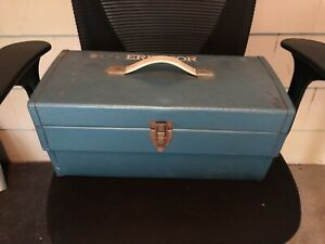 RARE Vintage 1959 GILBERT Erector Set Toy w/ Parts, Blue Metal Box, Manuals Nice
