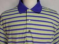 Footjoy Mens sz XL Purple Green Striped Short Sleeve Polyester Golf Polo Shirt