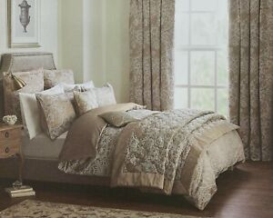 Dorma Ottoman Quilted Bedspread 265x265 XL Luxurious Jacquard Taupe BRAND NEW