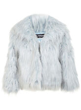 MISS SELFRIDGE SIZE 6-8 FAUX FUR BABY BLUE SHAGGY LADIES JACKET GIRLS WOMEN COAT