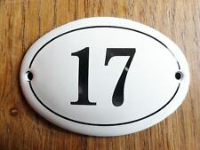 SMALL ANTIQUE STYLE ENAMEL DOOR NUMBER 17 SIGN PLAQUE HOUSE NUMBER SIGN