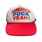 Vintage America F Yeah! Snapback Trucker Hat Adult OSFA Red White Blue Patriotic
