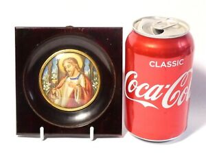 Vintage Religious Hand Painted Portrait Miniature of Jesus with Chalice  Framed